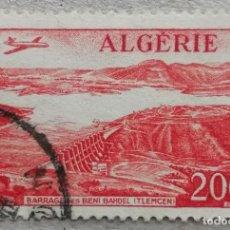 Timbres: 1957. ARGELIA. A14. AVIÓN SOBREVOLANDO EL EMBALSE DE BENI BAHDEL. USADO.. Lote 235608700