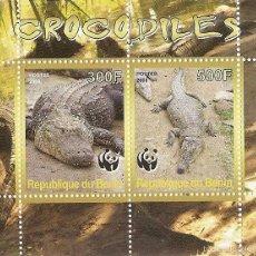 Sellos: BENIN ** & FAUNA WWF, COCODRILOS 2008 (1). Lote 56744591