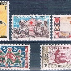 Sellos: BENIN - DAHOMEY 1961 / 70 - YVERT 162 + 175 + 206 + 242 + 297 ( USADOS ). Lote 155246290