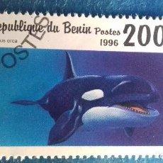 Sellos: BENÍN 1996. YVERT 710DD. MAMÍFEROS MARINOS. ORCA. MATASELLADO.. Lote 166648766