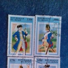 Sellos: BENÍN 1997. YVERT 712-715. UNIFORMES DEL EJÉRCITO PRUSIANO, C. 1740. MATASELLADOS.. Lote 166696382