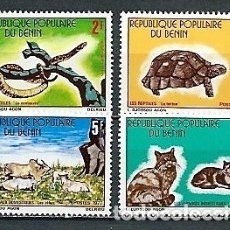 Sellos: BENÍN,1977,ANIMALES TÍPICOS,NUEVOS,MNH**,YVERT 389-392. Lote 174288478