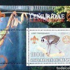 Sellos: BENIN LEMURES HOJA BLOQUE DE SELLOS NUEVOS. Lote 178665081