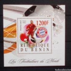 Sellos: BENIN FUTBOLISTA FRANK RIBERY HOJA BLOQUE DE SELLOS NUEVOS. Lote 182522133
