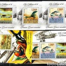 Sellos: BENIN AVIACION I GUERRA MUNDIAL SERIE COMPLETA DE SELLOS NUEVOS. Lote 182523350