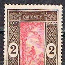 Sellos: DAHOMEY (BENIN) Nº 54, HOMBRE SUBIENDOSE A UNA PALMERA, SIN MATASELLAR (AÑO 1913). Lote 190006516