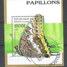 Sellos: BENIN 1996 BUTTERFLIES, PERF. SHEET, USED AB.089. Lote 198263527