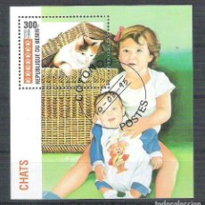 Sellos: BENIN 1995 CATS, PERF. SHEET, USED AB.080. Lote 198263532