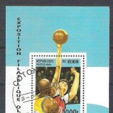 Sellos: BENIN 1996 SPORT, EXPO OLYMPICS, PERF. SHEET, USED AB.002. Lote 198263542