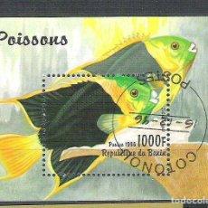Sellos: BENIN 1996 POISSONS FISH, PERF. SHEET, USED AB.087. Lote 198263547