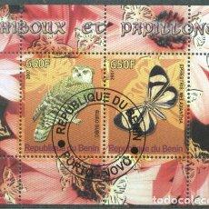 Sellos: BENIN 2007 OWLS, BUTTERFLIES, PERF.SHEETLET, USED T.032. Lote 198263562