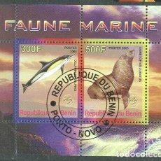 Sellos: BENIN 2008 MARINE FAUNA, PERF.SHEETLET, USED T.033. Lote 198263577
