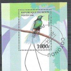 Sellos: BENIN 1996 BIRDS, PERF. SHEET, USED AB.078. Lote 198263583