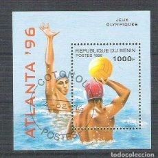 Sellos: BENIN 1996 SPORT, OLYMPICS, ATLANTA, PERF. SHEET, USED AB.001. Lote 198263585