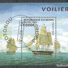 Sellos: BENIN 1996 SHIPS, PERF. SHEET, USED AB.003. Lote 198263593