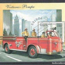 Sellos: BENIN 1998 CAR FIRE, PERF. SHEET, USED AB.008. Lote 198263595