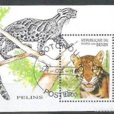 Sellos: BENIN 1996 WILD ANIMALS, PERF. SHEET, USED AB.088. Lote 198263640