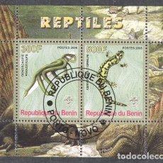 Sellos: BENIN 2008 REPTILES, PERF.SHEETLET, USED T.034. Lote 198263648