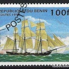 """Sellos: BENÍN 1996 - BARCOS, """"OPIUM CLIPPER"""". - SELLO USADO. Lote 205717837"""