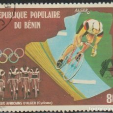 Sellos: BENIN 1978 SCOTT 405 SELLO * DEPORTES CICLISMO CYCLISTS AT THE 3RD AFRICAN GAMES IN ALGERIA MICHEL 1. Lote 216729070