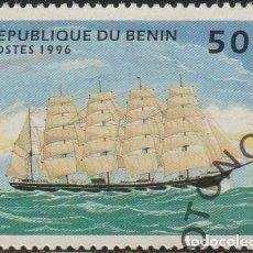 Sellos: BENIN 1996 SCOTT 851 SELLO * BARCOS SAILING SHIPS BRICBAIQUE DE 5 MASTILES MICHEL 800 YVERT 710AJ. Lote 216729302