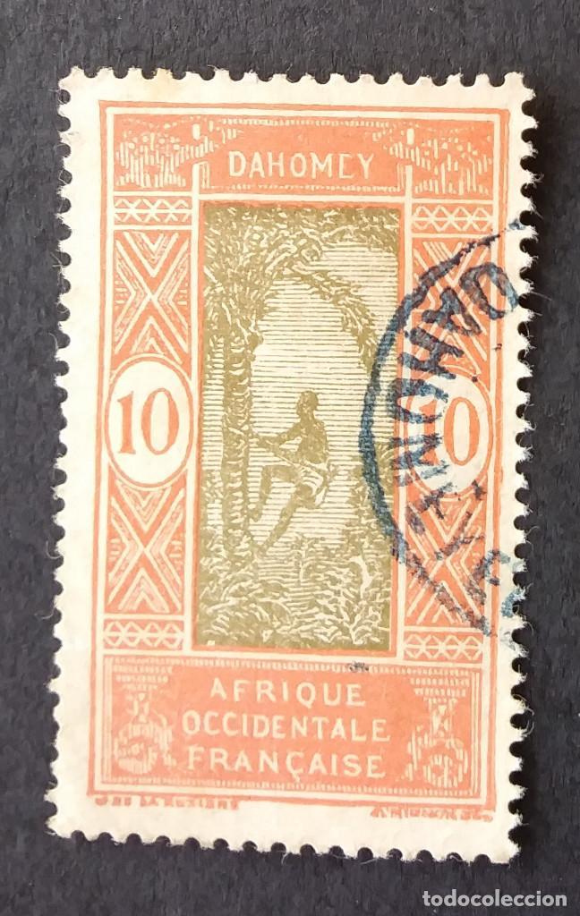 1925-1933 DAHOMEY (BENÍN) HOMBRE SUBIÉNDOSE A LA PALMERA (Sellos - Extranjero - África - Benin)