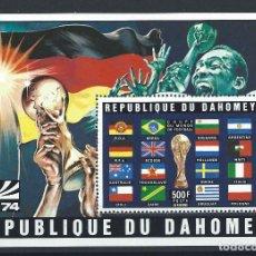 Sellos: DAHOMEY BLOC N°22A** (MNH) 1974 - COUPE DU MONDE DE FOOTBALL À MUNICH. Lote 261567235