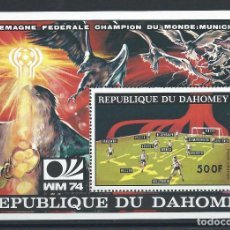 Sellos: DAHOMEY BLOC N°22F** (MNH) 1974 - COUPE DU MONDE DE FOOTBALL À MUNICH. Lote 261568340
