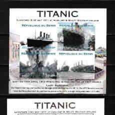 """Sellos: BENIN 2011, DOS HOJAS BLOQUE + CUATRO HOJAS PRUEBAS SIN DENTAR """" TITANIC """" MNH.. Lote 287675958"""