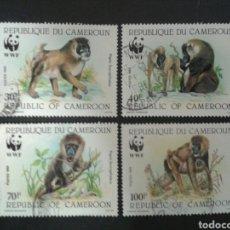 Sellos: CAMERÚN. YVERT 822/5. EL 824 DESCARNADO. NO CONTADO. SERIE COMPLETA USADA. WWF FAUNA. MONOS. Lote 103174482