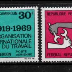 Sellos: CAMERUN AEREO 144/45** - AÑO 1969 - 50º ANIVERSARIO DE LA ORGANIZACION INTERNACIONAL DEL TRABAJO. Lote 213559115