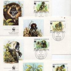 Sellos: CAMERUN SERIE SOBRES PRIMER DIA 1988 MICHEL 1155 A 1158 WWF. Lote 215501882