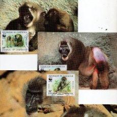 Sellos: CAMERUN SERIE TARJETAS MAXIMA PRIMER DIA 1988 MICHEL 1155 A 1158 WWF. Lote 215543423
