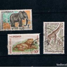 Francobolli: CAMERUN 1964 FAUNA AFRICANA LEON JIRAFA ELEFANTE SELLOS ANTIGUOS. Lote 262242535