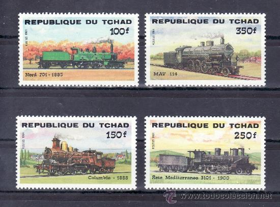 TCHAD 456/9 SIN CHARNELA, FF.CC., DESARROLLO DE LAS COMUNICACIONES, LOCOMOTORA, (Sellos - Extranjero - África - Chad)