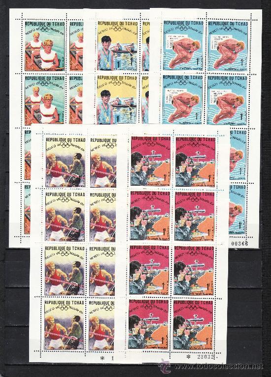 TCHAD 183/212 MINIPLIEGO SIN CHARNELA, PINTURA, DEPORTE, MEDALLAS ORO JUEGOS OLIMPICOS DE MEXICO + (Sellos - Extranjero - África - Chad)