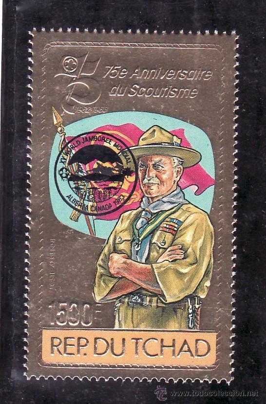 TCHAD A 267 SIN CHARNELA, SOBRECARGADO XV MARCHA MUNDIAL, 75 ANIVº SCOUTS (Sellos - Extranjero - África - Chad)