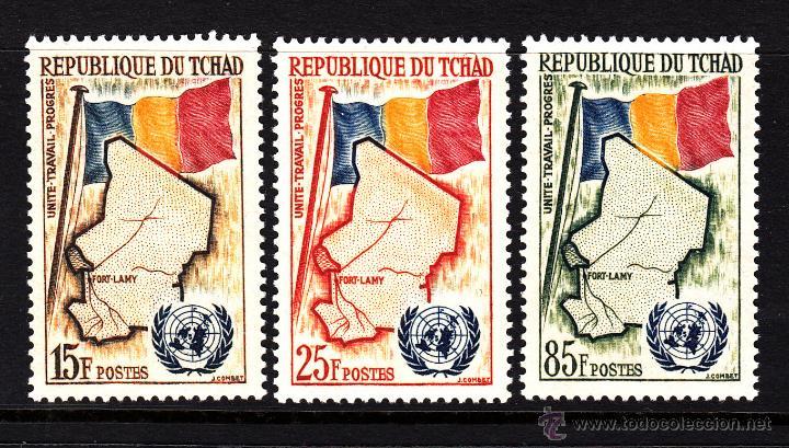 CHAD 63/65** - AÑO 1961 - ADMISIÓN DE CHAD EN LAS NACIONES UNIDAS - MAPAS (Sellos - Extranjero - África - Chad)