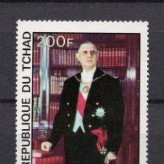 Sellos: CHAD 328** - AÑO 1977 - PERSONAJES - GENERAL DE GAULLE. Lote 55606142
