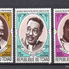 Sellos: CHAD AEREO 93/95** - AÑO 1971 - MUSICA - GRANDES MUSICOS NEGROS AMERICANOS. Lote 55608144