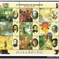 Sellos: CHAD 2000, HB LES MUSICIENS DU MILLENIUM, SC-MNH. Lote 80819995