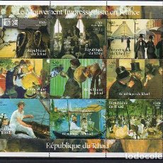 Sellos: CHAD 2001, HB PINTORES IMPRESIONISTAS, SC-MNH. Lote 80820159