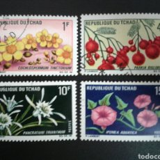 Sellos: CHAD. YVERT 179/82. SERIE COMPLETA USADA. FLORA. FLORES. Lote 117253718