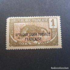Sellos: MOYEN CONGO,COLONIA FRANCESA,1924-1930,SCOTT 23*,NUEVO,FIJASELLO,ADELGAZADO,(LOTE AG). Lote 153463266