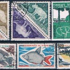 Sellos: CHAD 1961 / 70 - YVERT 67 + 68 + 216 / 218 + TAXAS 23 / 24 + 29 + 30 ( USADOS ). Lote 155082018