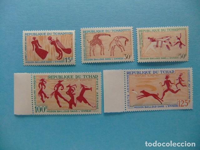 TCHAD 1967 PINTURAS RUPESTRES YVERT 146 / 48 + PA 42 / 43 ** MNH (Sellos - Extranjero - África - Chad)