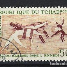 Timbres: CHAD 1967 - PINTURAS RUPESTRES, MISIÓN DE BAILLOUD EN EL ENNEDI - SELLO USADO. Lote 206165878