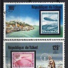 Sellos: CHAD 1977 - VUELOS DEL ZEPPELIN, S.COMPLETA - SELLOS USADOS. Lote 206175107