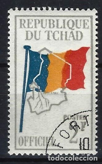 CHAD 1966 - SELLO OFICIAL, BANDERA Y MAPA DE CHAD - SELLO USADO (Sellos - Extranjero - África - Chad)