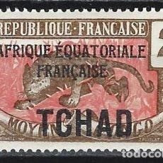 Timbres: CHAD 1924 - SELLO DEL CONGO MEDIO, SOBRECARGADO, LEOPARDO - MH*. Lote 215147390